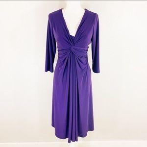 Jones New York purple jersey front knot midi dress